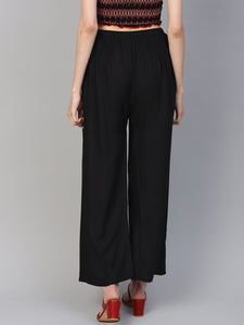 Jompers Women Black Solid Straight Palazzos