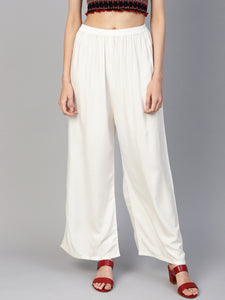 Jompers Women Off-White Solid Straight Palazzos