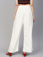 Load image into Gallery viewer, Jompers Women Off-White Solid Straight Palazzos