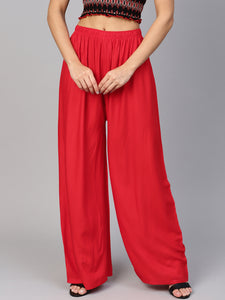 Jompers Women Red Solid Straight Palazzos