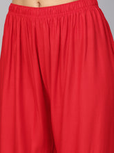 Load image into Gallery viewer, Jompers Women Red Solid Straight Palazzos