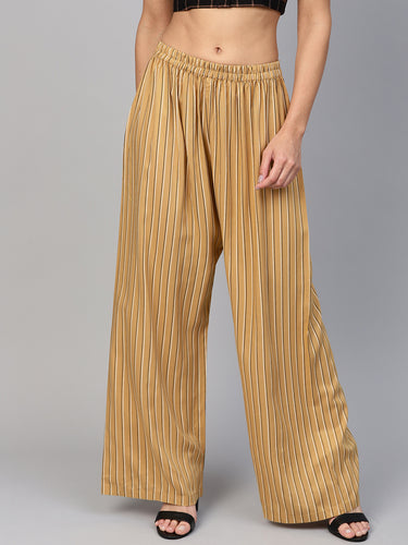 Jompers Women Beige & Black Striped Straight Palazzos
