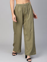 Load image into Gallery viewer, Jompers Women Olive Green & Black Striped Straight Palazzos