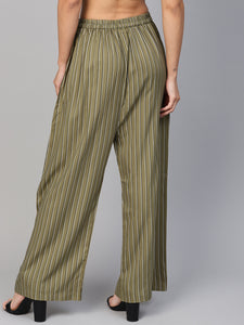 Jompers Women Olive Green & Black Striped Straight Palazzos