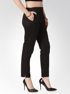 Jompers Women Black Smart Slim Fit Solid Regular Trousers