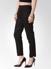 Load image into Gallery viewer, Jompers Women Black Smart Slim Fit Solid Regular Trousers