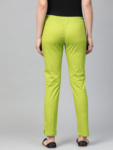 Jompers Women Green Smart Slim Fit Solid Regular Trousers