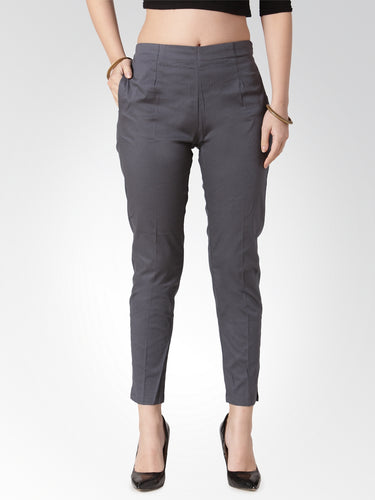 Jompers Women Grey Smart Slim Fit Solid Regular Trousers
