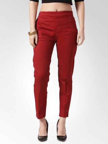 Jompers Women Maroon Smart Slim Fit Solid Regular Trousers