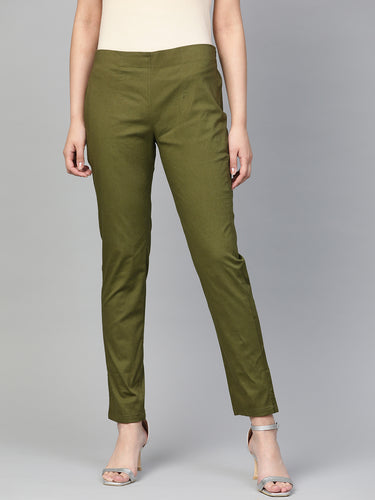 Jompers Women Olive Green Smart Slim Fit Solid Regular Trousers