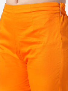 Jompers Women Orange Smart Slim Fit Solid Regular Trousers