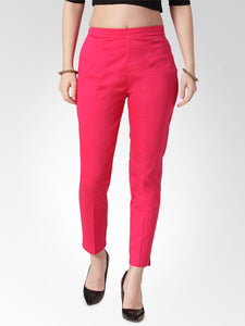 Jompers Women Pink Smart Slim Fit Solid Regular Trousers
