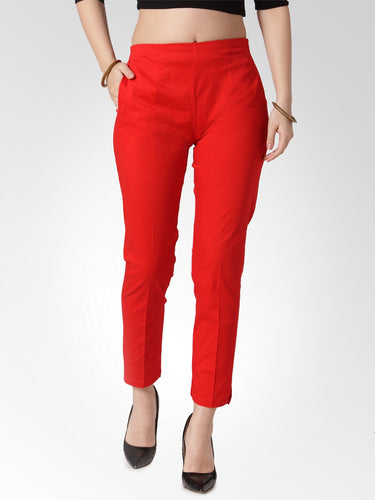 Jompers Women Red Smart Slim Fit Solid Regular Trousers