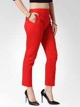 Load image into Gallery viewer, Jompers Women Red Smart Slim Fit Solid Regular Trousers
