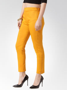 Jompers Women Mustard Smart Slim Fit Solid Regular Trousers
