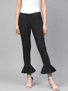Jompers Women Black Smart Slim Fit Solid Bottom Flared Trousers