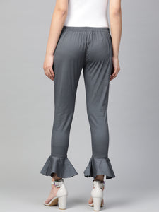 Jompers Women Grey Smart Fit Solid Bottom Flared Trousers