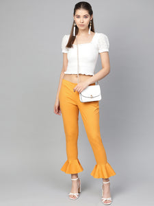 Jompers Women Mustard Smart Fit Solid Bottom Flared Trousers
