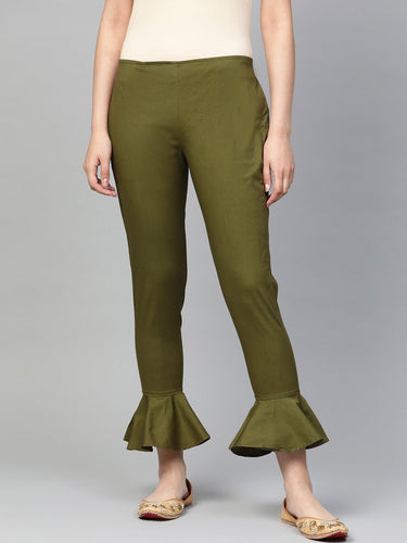 Jompers Women Olive Green Smart Fit Solid Bottom Flared Trousers ( JOP 2128 Olive )