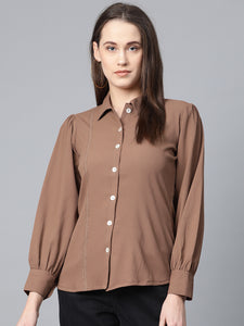 Jompers Women Brown Regular Fit Crinkled Effect Casual Shirt