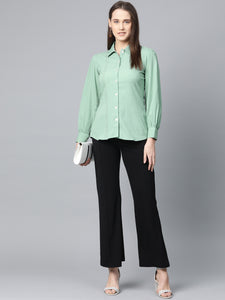 Jompers Women Green Regular Fit Crinkled Effect Casual Shirt