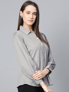 Jompers Women Grey Regular Fit Crinkled Effect Casual Shirt