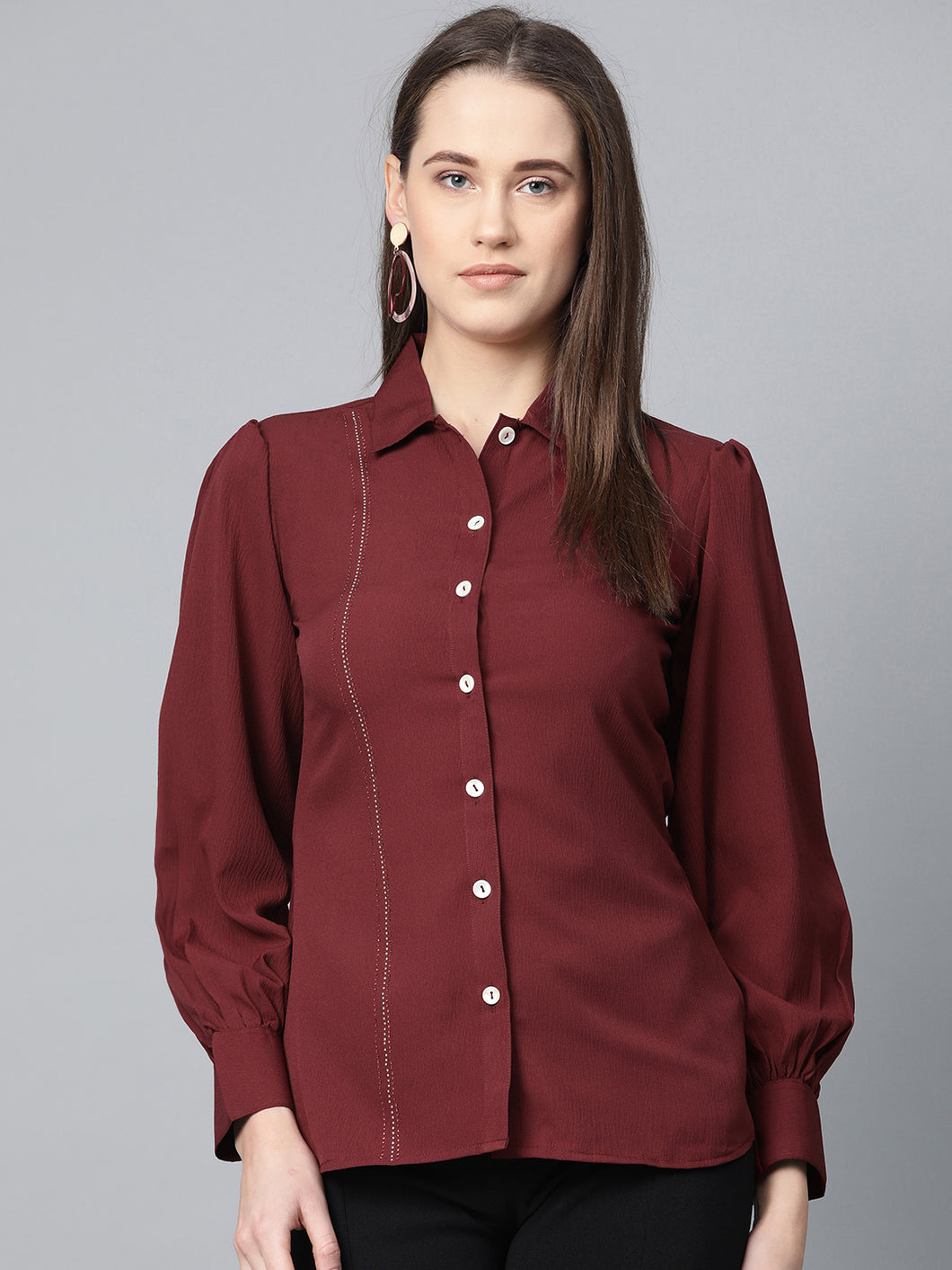 Jompers Women Maroon Regular Fit Crinkled Effect Casual Shirt