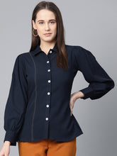 Load image into Gallery viewer, Jompers Women Navy Blue Regular Fit Crinkled Effect Casual Shirt