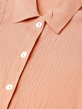 Load image into Gallery viewer, Jompers Women Peach Regular Fit Crinkled Effect Casual Shirt