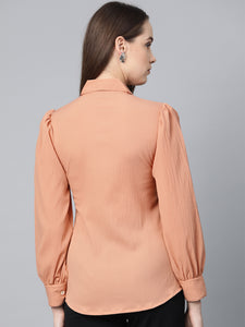 Jompers Women Peach Regular Fit Crinkled Effect Casual Shirt