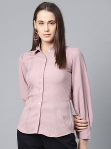 Jompers Women Purple Regular Fit Crinkled Effect Casual Shirt