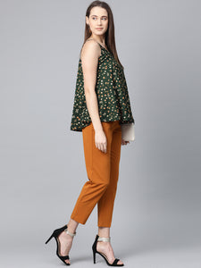 Jompers Women Green & Brown Printed A-Line Top