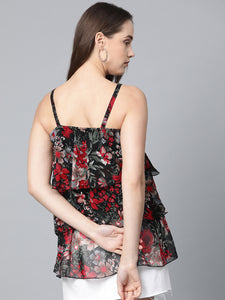 Jompers Women Black & Red Printed Tiered Top