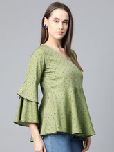 Load image into Gallery viewer, Jompers Women Green & Black Printed A-Line Top