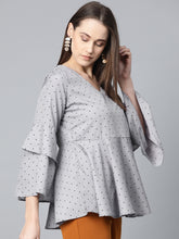 Load image into Gallery viewer, Jompers Women Grey & Black Printed A-Line Top