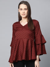 Load image into Gallery viewer, Jompers Women Maroon & White Printed A-Line Top