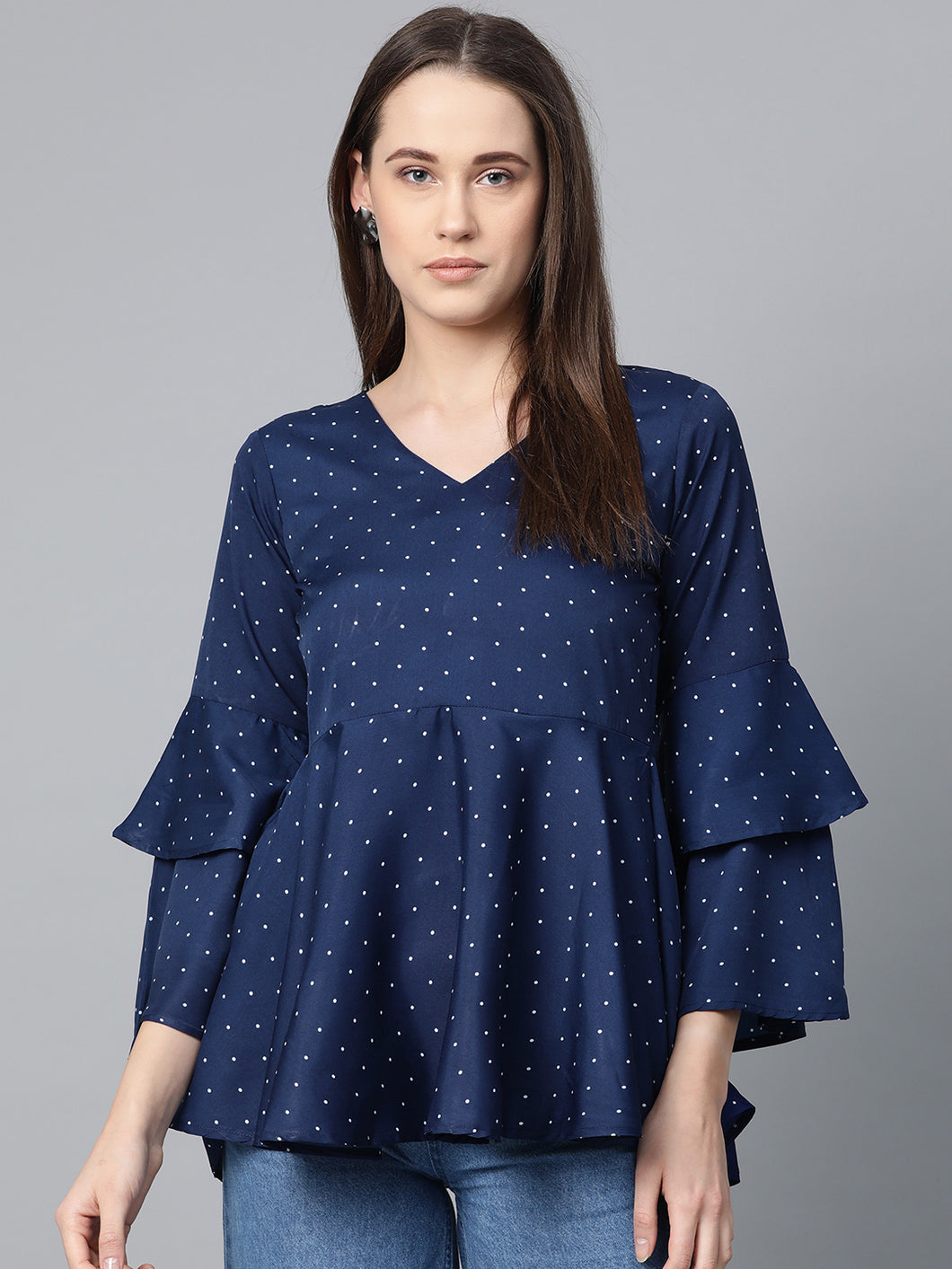 Jompers Women Navy Blue & White Printed A-Line Top