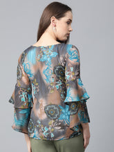 Load image into Gallery viewer, Jompers Women Grey & Blue Printed Top