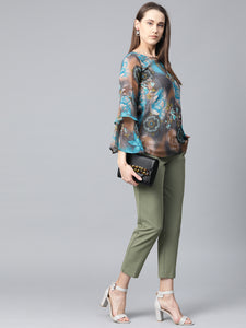 Jompers Women Grey & Blue Printed Top
