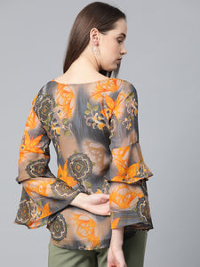 Jompers Women Grey & Mustard Printed Top