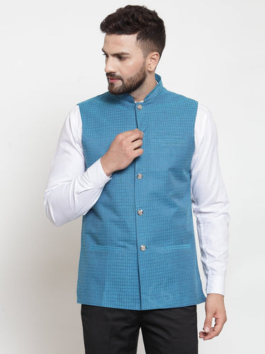 Jompers Men Turquoise Blue Woven Design Nehru Jacket ( JOWC 4001 Green)