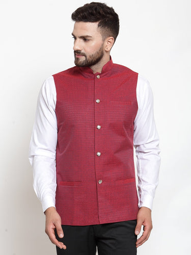 Jompers Men Maroon Woven Design Nehru Jacket ( JOWC 4001 Maroon)
