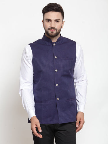 Jompers Men Navy-Blue Woven Design Nehru Jacket ( JOWC 4001 Navy)