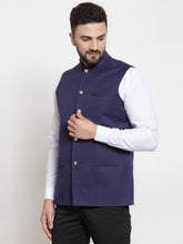 Load image into Gallery viewer, Jompers Men Navy-Blue Woven Design Nehru Jacket