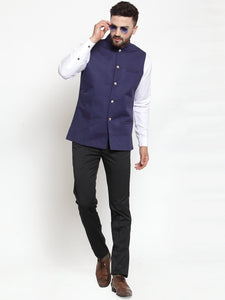 Jompers Men Navy-Blue Woven Design Nehru Jacket