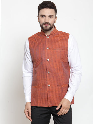 Jompers Men Orange Woven Design Nehru Jacket ( JOWC 4001 Orange)