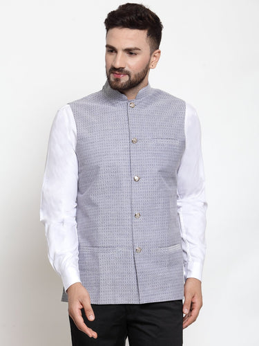 Jompers Men Steel-Blue Woven Design Nehru Jacket ( JOWC 4001 Steel-Blue)