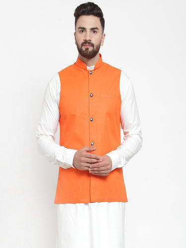 Jompers Men Orange Solid Nehru Jacket ( JOWC 4002 Orange)