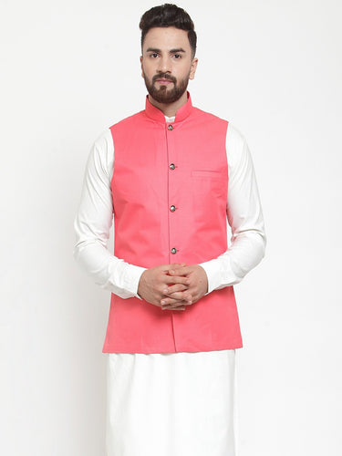 Jompers Men Peach Solid Nehru Jacket ( JOWC 4002 Peach)