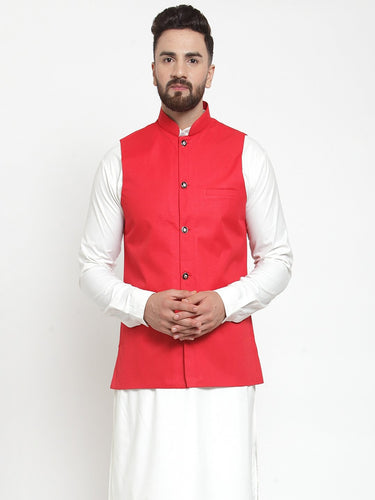 Jompers Men Red Solid Nehru Jacket ( JOWC 4002 Red)